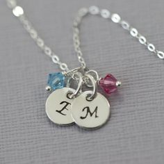 Initial Necklace, Birthstone Necklace, Sterling Silver Double Initial Necklace with Birthstone, Valentines Gift for Her, Casual Necklace