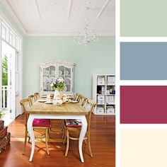 This welcoming environment is built in layers of soft colours of pinks, blues and greens that contrast and compliment the space. Paint Color Pallets, Wallpaper Stencil, Classic Interior, Colour Palettes, Highlands, Soft Colors, Color Combinations, Jasper, Paint Colors