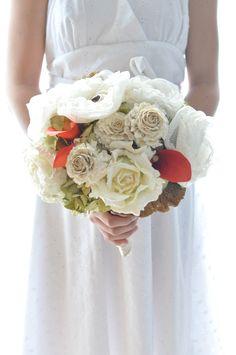 Rustic romance Paper flower bouquet, fabric flower bouquet, Fall wedding with mushroom, twine, orange callas ad green hydnragea. $235.00, via Etsy.