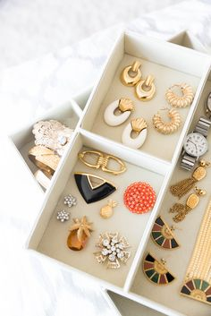 Organizing Bins for Jewelry in your Dresser. Click through to shop our one-of-a-kind, vintage jewelry collection from the 1950s, 60s, 70s, 80s and 90s.