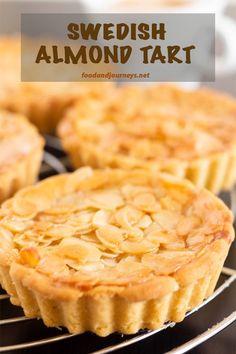 Closer shot of Swedish Almond Tart, highlighting the almond bits on top. Tart Recipes, Baking Recipes, Sweet Recipes, Dessert Recipes, Dessert Tarts, Healthy Recipes, Almond Tart Recipe, Almond Recipes, Almond Meal