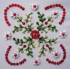 I ❤ beadwork  ribbon embroidery . . .  Herrschner design- by crazyQstitcher