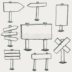 Doodle panneaux bois et flèches de direction — Illustration #32130495