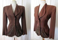 Killer 1940's Deep Brown Beaded Gabardine Jacket by wearitagain, $398.00