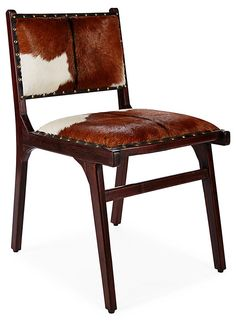 Roxy Hide Side Dining Chair, Brown/White