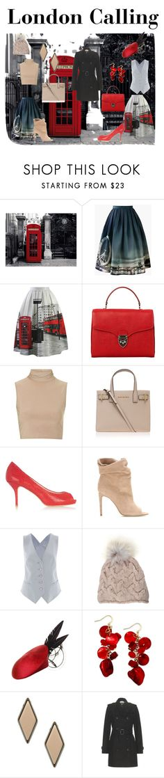 """""""London Calling"""" by jostockton ❤ liked on Polyvore featuring 1Wall, Chicwish, Aspinal of London, Rare London, Kurt Geiger, Lucy Choi London, Burberry, Temperley London, Inverni and Rosie Olivia"""
