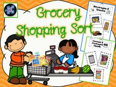"Students cut out the ""grocery items"" and sort them between the ""grocery store aisle cards.""  Great idea for a special education class prior to taking a community trip to a grocery store!!"
