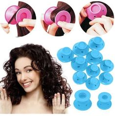 Rollers Hair-Curler Hair-Styling-Tool No-Heat Magic Silicone Rubber Soft Blue Bright Eye Makeup, Colorful Eye Makeup, No Heat Hairstyles, Diy Hairstyles, Hairdos, Magic Hair Curlers, Creative Makeup Looks, Bratz Doll, Natural Eye Makeup
