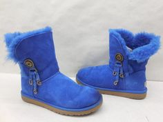 Ugg Australia Womens Blue Suede Azalea Charm Genuine Shearling Winter Boots 10…