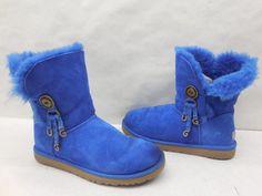 Ugg Australia Womens Blue Suede Azalea Charm Genuine Shearling Winter Boots 10…