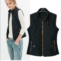 "Zara women's quilted vest, M/L Adorable navy vest with brown piping detail and embellished zippers. In perfect condition only worn one time. No stains or tears. Warm quilted fabric, 2 pockets and buckle detail around neck. Size large but Zara runs small. I am a small/medium and it fits. For sizing ref: I am 5'3"" 127lbs. ❌ no trades open to offers ❌ Zara Jackets & Coats Vests"