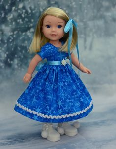 """""""Snowflakes"""" Dress, Outfit for American Girl Wellie Wishers & Hearts for Hearts #LuminariaDesigns"""