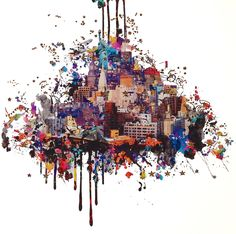 New Yorker is a striking Giclee with laser cut out print from contemporary artist Rebecca King.This piece is printed on Cotton Rag paper and from a Limited Edition of Rebecca King creates her incredible cityscapes digitally collaging together s Tachisme, Modern Art, Contemporary Art, Pop Art, Graffiti, Rise Art, Unusual Presents, Art For Sale Online, Mixed Media Artwork
