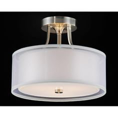 @Overstock - Elegant and sophisticated, this Altea 3-light flush mount features a satin nickel finish/for the livingroom