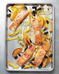 Fishing for a new salmon recipe? This one-pan delight features Mediterranean flavors that really shine. You can eat the cooked oranges (peel and all) or squeeze the juice over the fish.