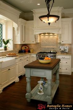 English Cottage kitchen, love the island the color is great