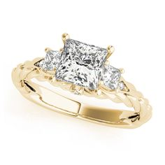 Transcendent Brilliance 14K Gold 1 1/4ct TDW Three-Stone Princess-Cut Diamond Engagement Ring (G, VS2) (