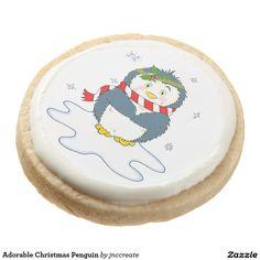 Adorable Christmas Penguin Round Premium Shortbread Cookie