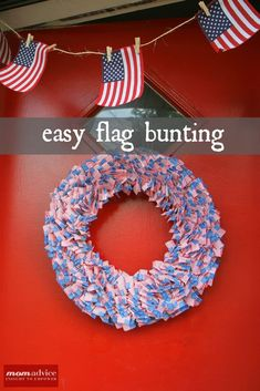of July Flag Cupcake Pick Wreath & Easy Flag Bunting 4th Of July Party, Fourth Of July, 4th Of July Wreath, Craft Tutorials, Craft Projects, Diy Wreath, Wreaths, Party Supply Store, Cupcake Picks