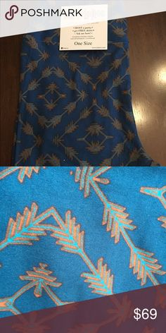 LuLaRue OS NWT Arrow leggings 🦄 These are the prettiest  shade of deep turquoise with lighter  turquoise and umber arrows but the color is just not coming out as pretty as they really are on my iPhone camera... they are so pretty in real life! LuLaRoe Other