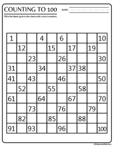 Free printable hundreds chart for kindergarten. Great for skip counting, missing numbers, and number sense. Blank printable hundreds chart available as well. - Kids education and learning acts Skip Counting Activities, Counting To 100, Kindergarten Math Activities, Preschool, Skip Counting Worksheet, Missing Number Worksheets, Number Sense Kindergarten, Place Value Worksheets, Anchor Charts