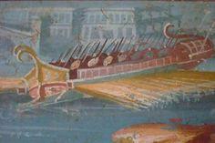 Affresco dal Tempio di Iside, a Pompei. Una trireme. Napoli, Museo Archeologico Nazionale.