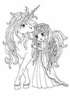 Gratis Ausmalbild Manga Mädchen auf Einhorn - kostenlos