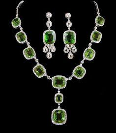 peridot and platinum jewelry   Platinum Diamond & Peridot Necklace & Earrings