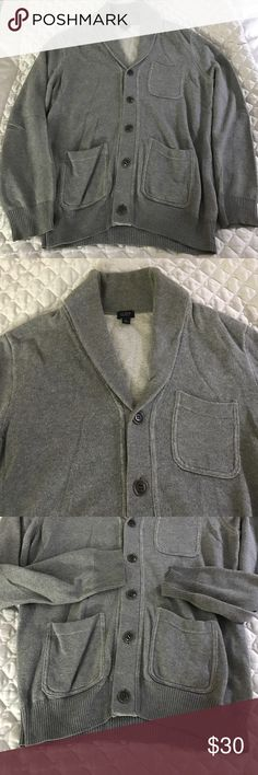 J.Crew Shawl Collar Men's Cardigan Classic J.Crew shawl collar 3 Pocket 'grandpa' cardigan.  Used but in good condition, some signs of wear.  Cozy and soft! J. Crew Sweaters Cardigan
