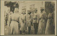 Spotkanie brygadiera J. Piłsudskiego z wodzem naczelnym armii austriackiej arcyksięciem Fryderykiem Habsburgiem na rynku w Jędrzejowie, 1915