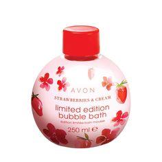 Habfürdő tejszínhabos eperillattal - AVON termékek Bubble Bath, Avon, Mousse, Christmas Bulbs, Bubbles, Perfume Bottles, Cosmetics, Cream, Holiday Decor