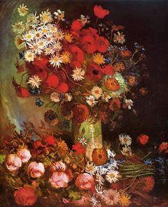 Vase with Poppies, Cornflowers, Peonies and Chrysanthemums. Paris, Spring 1886, Size 99 x 79 cm