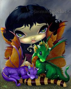 Two Cute Dragonlings art gothic dragon fairy tale art print by Jasmine Becket-Griffith 8x10.  via Etsy.