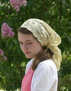Golden Colored Head Covering with Tie Backs by RobinNestLane, $24.00