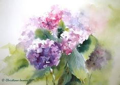 Art Floral, Watercolor Print, Watercolour Painting, Watercolor Flowers, Watercolors, Hydrangea Painting, Illustration Blume, Drawn Art, Alcohol Ink Art