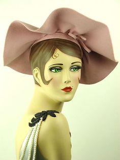 Vintage Hat 1950s French Powder Pink Casablanca Wide Brim Picture Hat Stunning   eBay