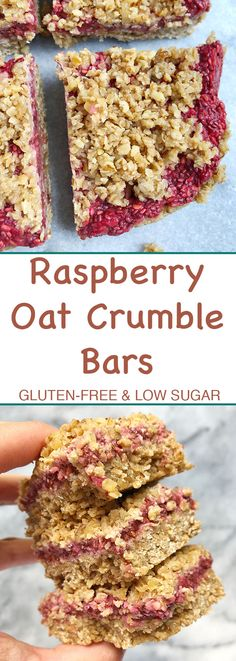 These delicious raspberry oat crumble bars are perfect for any time of day and are gluten-free, vegan-friendly and are free of refined sugar. Raspberry Oatmeal Bars, Raspberry Breakfast, Breakfast Bars, Easy Baking Recipes, Healthy Dessert Recipes, Healthier Desserts, Healthy Treats, Free Recipes, Healthy Sugar