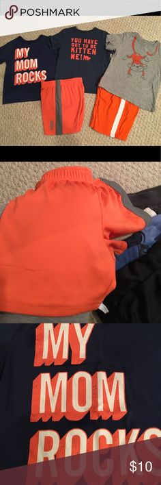 "Boys 5T Summer shorts and shirts set Two blue shirts with orange lettering are 5T OshKosh .  The coordinating shorts are size 5 OshKosh.      The monkey shirt is The Children's Place 5T and the matching shorts are 5T The Children's Place..  no stains and pet and smoke free home.   The My Mom Rocks lettering does have some ""wearing"" in the lettering - I have a close up photo.   I also noticed a slight snag on the coordinating shorts - photo of that too. Osh Kosh Matching Sets"