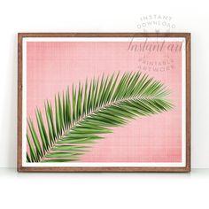 Palm leaf print PRINTABLE art,pink and green,tropical print,minimalist,modern art,geometric art,palm leaf art,palm tree print,palm tree art