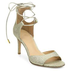 "rimini 2 diamond-textured sandals by Diane Von Furstenberg. Glittery diamond textures dazzle in this chic pair. Self-covered stiletto heel, about 3"".Fabric upper. Open toe. Ankl..."