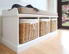TETBURY White Storage Bench With Cushion Hallway  Hanging Shelf FULLY ASSEMBLED