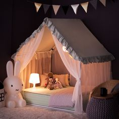 Petite Maison's Kids House bed – Frill canopy series – Mint – Super cute & lovel… - Diy Möbel Kids Bed Canopy, Bed Tent, Baby Bedroom, Girls Bedroom, Bedroom Decor, House Beds For Kids, Kid Beds, Cool Beds For Kids, Little Girl Beds