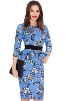 Floral Print Peplum Three Quarter Sleeved Midi Dress - Bluefloral - Front - DR452