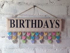 Beige wooden birthday board / organiser complete with 30 multicoloured hearts. by AceSentimentalGifts on Etsy https://www.etsy.com/listing/241167828/beige-wooden-birthday-board-organiser