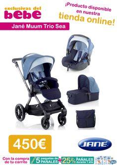 El cochecito de jane muum trio sea tiene seguridad y confort para el bebé, gracias a prestaciones como el sistema de regulación en 3 posiciones de su hamaca y su asiento reversible más amplio.