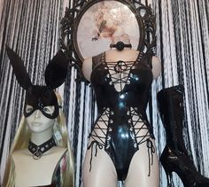 One and Only #WickedChamber slide Right for sexy gear  Come in this weekend! #wickedstyle #vinyl #bodysuit #laceup #boots #masks #wigs #fetish #naughty #ballgags #equipment #Sportsheets #paddles #whips #collars #crops #harness
