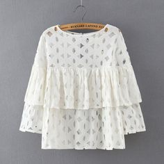 2016 Summer Plus Size Women Short Blouses Shirts o neck sleeve lace hollow out loose ruffles blouse ladies tops White Black Blouse Styles, Trendy Dresses, Plus Size Women, White Lace, Shirt Blouses, Blouses For Women, Ladies Tops, Fashion Blouses, Batwing Sleeve