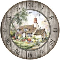 Thatched Roof Cottage Clock Face Clock Making by naturepoet Clock Art, Diy Clock, Decoupage Vintage, Decoupage Paper, Clock Printable, Handmade Clocks, Wood Clocks, Clipart, Vector Art
