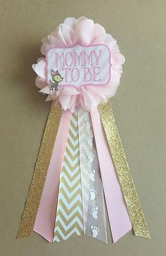 Pink Gold Baby Deer Fawn Baby Shower Mommy To Be Flower Ribbon Pin Corsage  Glitter Gold Glitter Gold Chevron Mama Mom Mommy