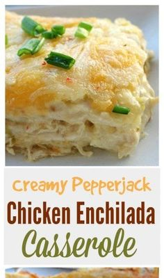 These creamy pepper jack chicken enchiladas are to die for. So cheesy and so creamy. These creamy pepper jack chicken enchiladas are to die for. So cheesy and so creamy. Enchilada Pasta, Chicken Enchilada Bake, Enchilada Recipes, Crockpot Chicken Enchilada Casserole, Green Chili Chicken Casserole, Chicken Chili, White Sauce Enchiladas, Chicken Cheese Enchiladas, Tostadas